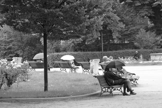 În Paris oamenii nu se tem de ploaie.